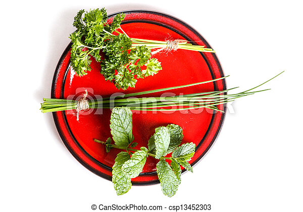 Plate of herbs - csp13452303