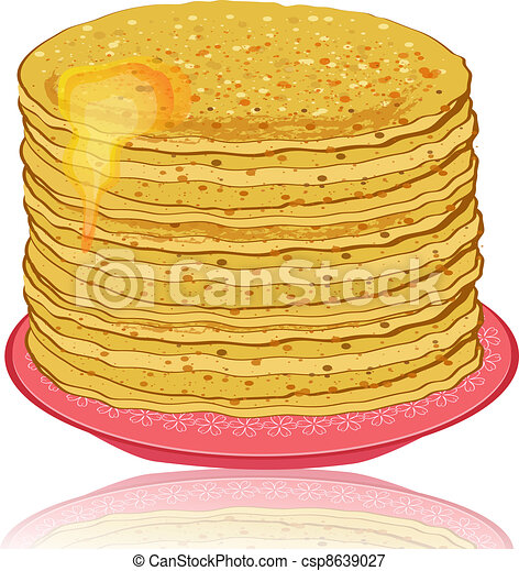 plate of pancakes and honey - csp8639027