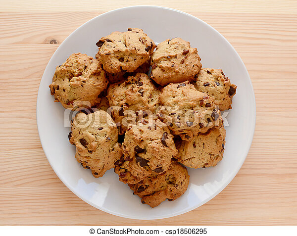 Plate of pecan and chocolate chip cookies - csp18506295