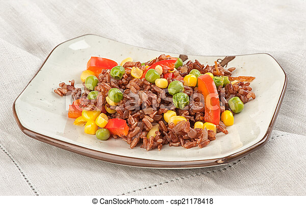 plate of rice with vegetables - csp21178418