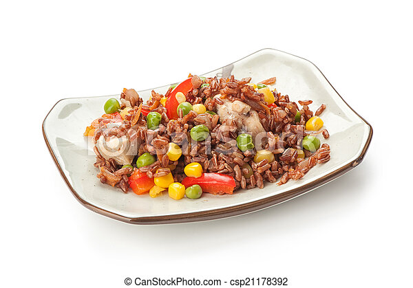 plate of rice with vegetables - csp21178392
