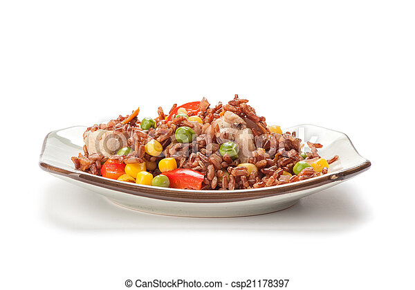 plate of rice with vegetables - csp21178397