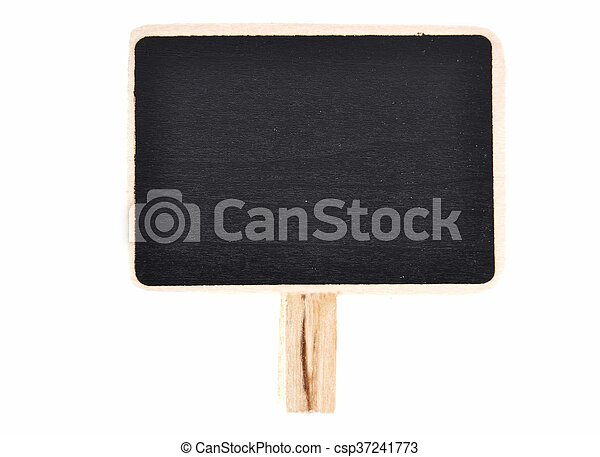 Plate of slate for writing with wooden base on white - csp37241773