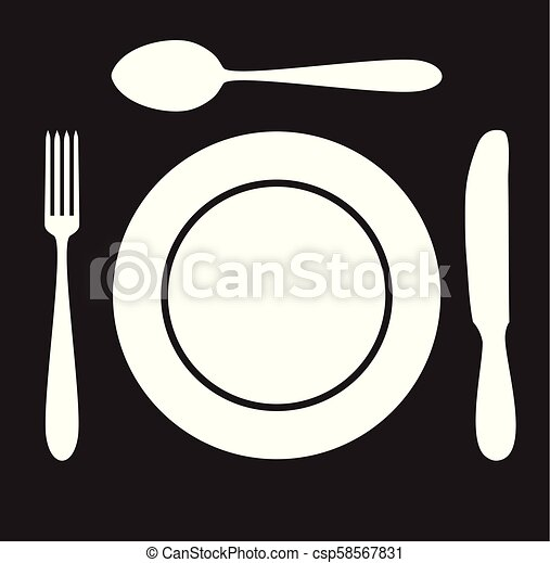 Plate spoon fork and knife icon silhouette - csp58567831