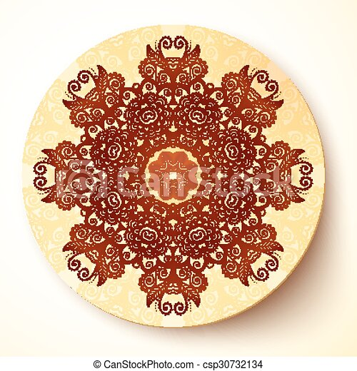 plate template with indian mehndi round ornament plate template