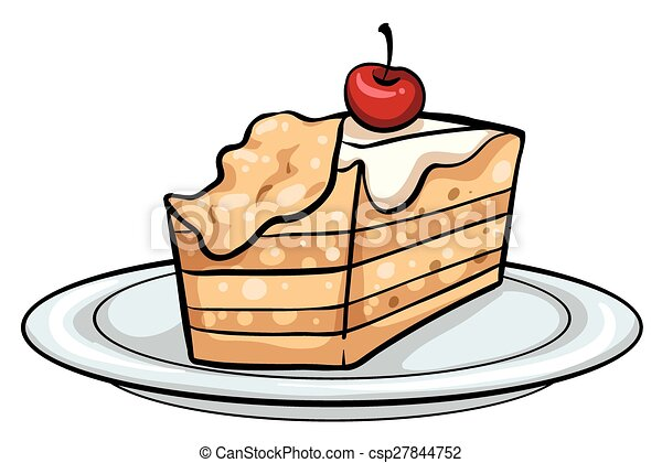 Plate with a cake - csp27844752  sc 1 st  Can Stock Photo & Plate with a cake. Plate with a slice of cake on a white background.