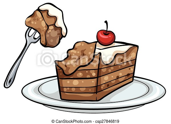 plate with a slice of cake plate with a slice of a mocha vector rh canstockphoto com slice of cake clipart slice of cake clipart free