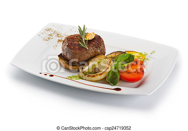 Plate with barbecue grilled beef steak meat with vegetables - csp24719352