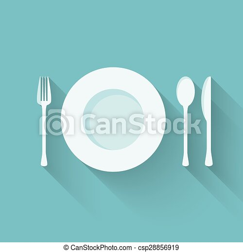 Plate with cutlery (fork, spoon and knife) long shadows - csp28856919