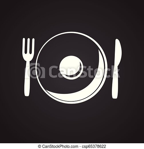 Plate with fork and spoon on black background - csp65378622