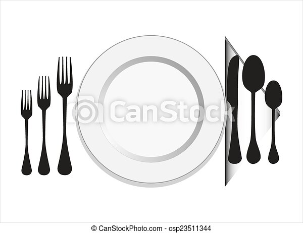 Plate with fork, knife ,spoon - csp23511344