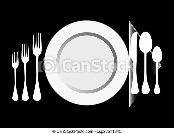 Plate with fork, knife ,spoon - csp23511345
