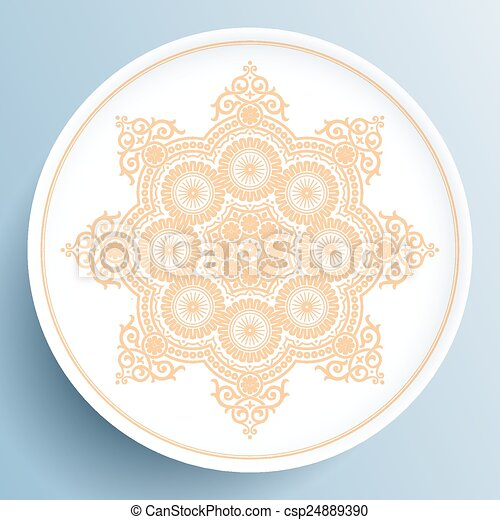 Plate with gold floral ornament - csp24889390