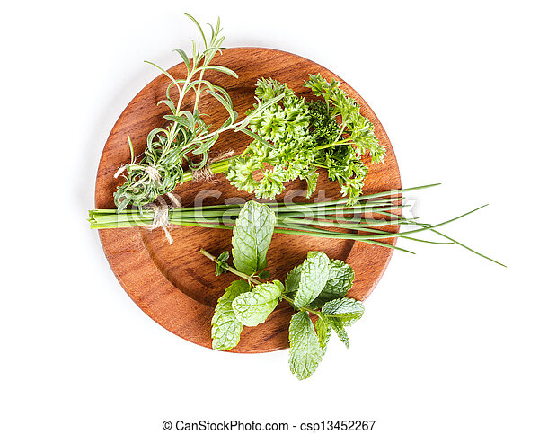 Plate with herbs - csp13452267