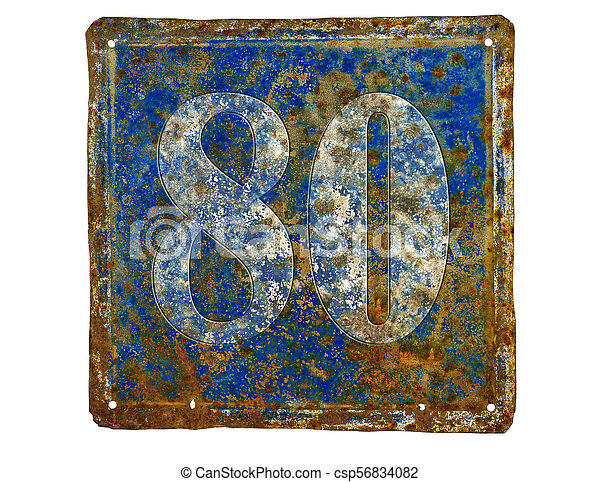 plate with number eighty - csp56834082