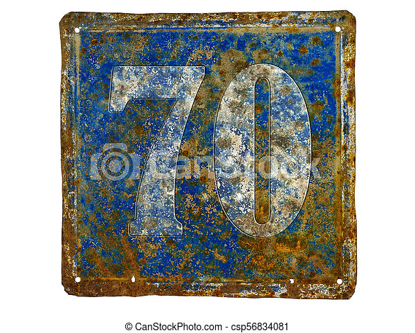 plate with number seventy - csp56834081