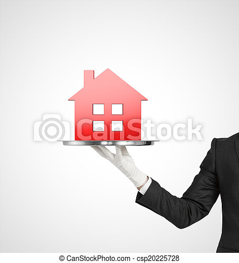 plate with red house icon - csp20225728