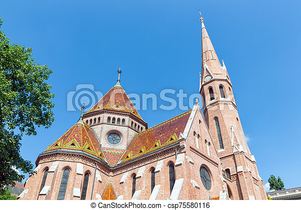 platen, boedapest, mooi, dak, kerk, hongarije, calvinist - csp75580116