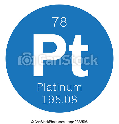 Platinum Chemical Element Precious Metal Colored Icon With Atomic