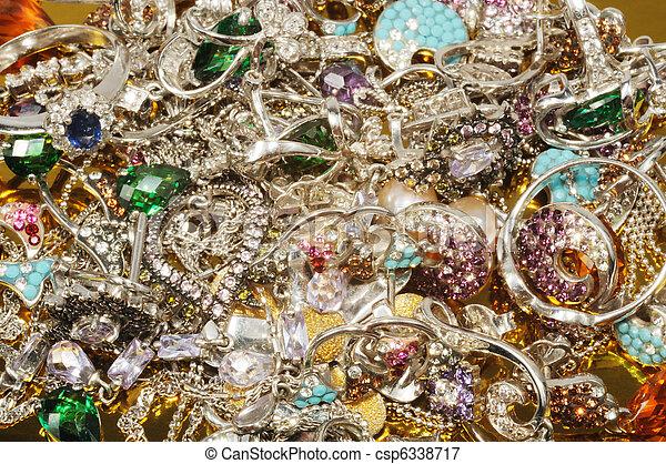 Platinum jewelry with gems - csp6338717
