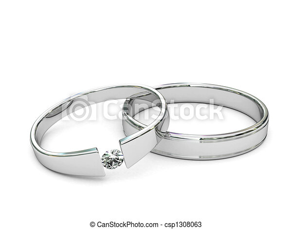 Platinum or silver rings with diamond - csp1308063