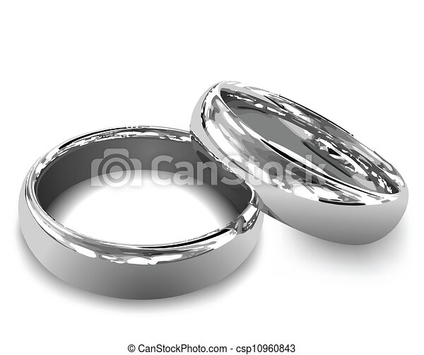 Platinum wedding rings vector illustration Female and male eps