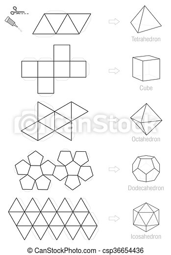 Platonic solids craft pattern. Platonic solids - coloring picture ...