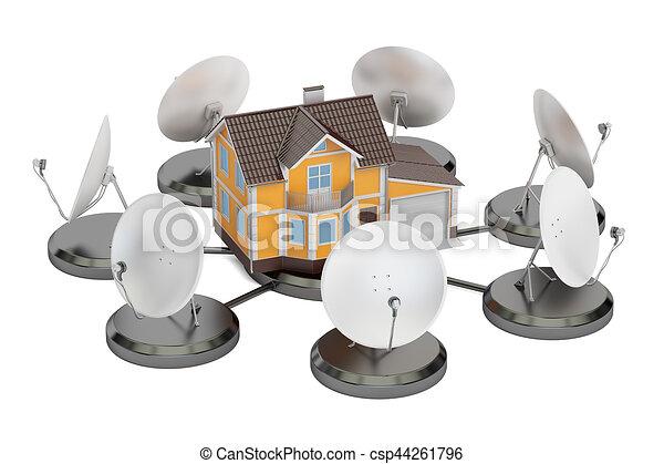 plats satellite, concept., maison, rendre, télécommunications, 3d - csp44261796
