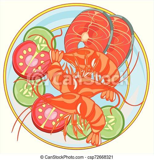 platte, fische, garnele, abbildung, vektor, meeresfrüchte - csp72668321