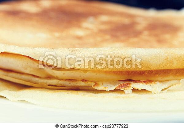 platte, weißes, pfannkuchen, lieb - csp23777923