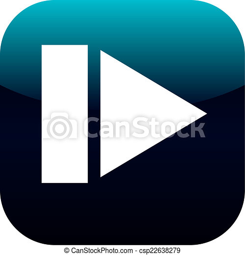 play and pause blue square glossy web icon on white background - csp22638279