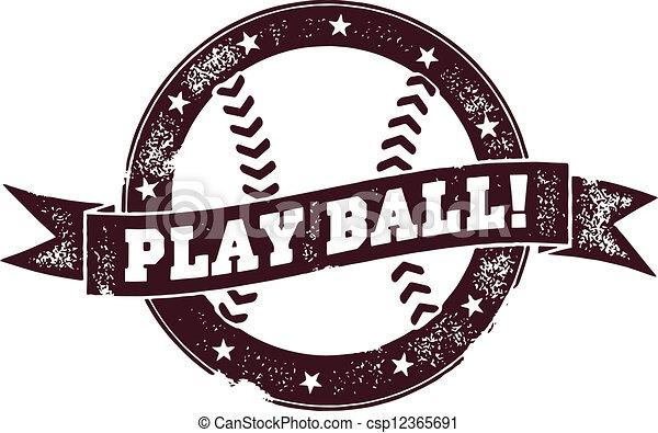 Play Ball Vintage Baseball Stamp - csp12365691