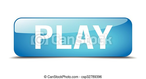 play blue square 3d realistic isolated web button - csp32789396