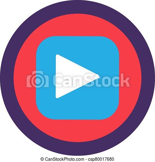 Play Button Flat Icon Design, Web App Sign Vector - csp80017680