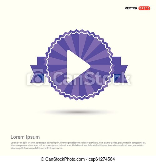 Play button icon - Purple Ribbon banner - csp61274564