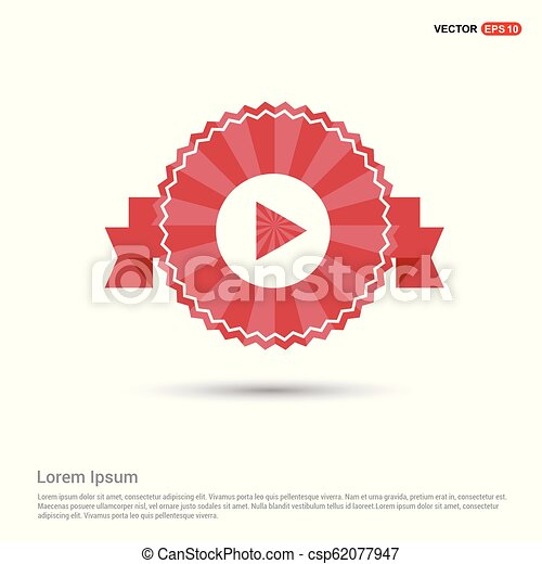 Play button icon - Red Ribbon banner - csp62077947