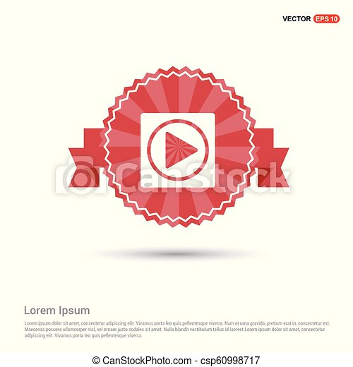 Play button icon - Red Ribbon banner - csp60998717