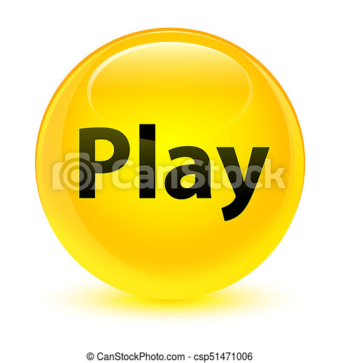 Play glassy yellow round button - csp51471006
