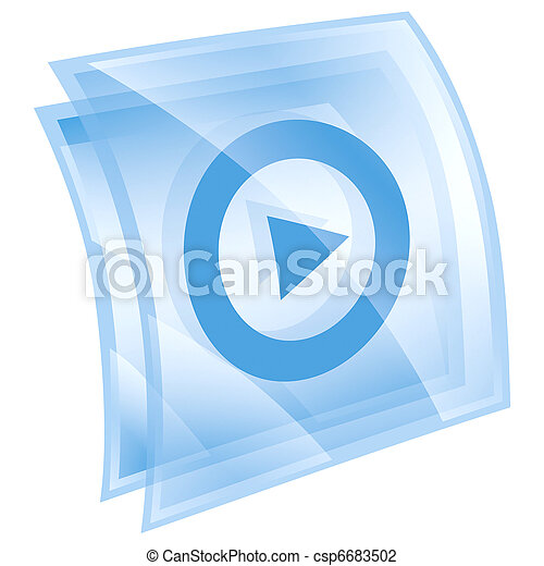 Play icon blue, isolated on white background. - csp6683502