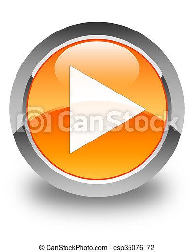 Play icon glossy orange round button - csp35076172