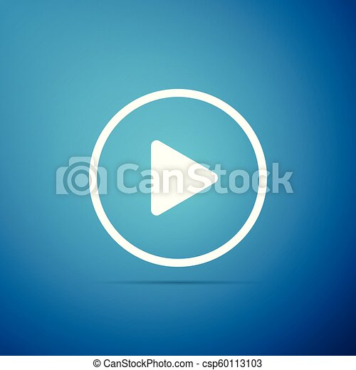Play icon isolated on blue background. Flat design. Vector Illustration - csp60113103
