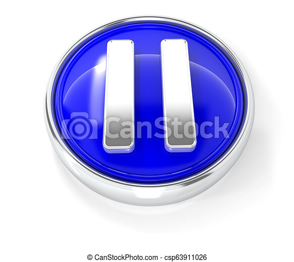 Play icon on glossy blue round button - csp63911026