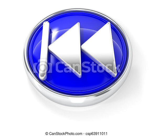 Play icon on glossy blue round button - csp63911011