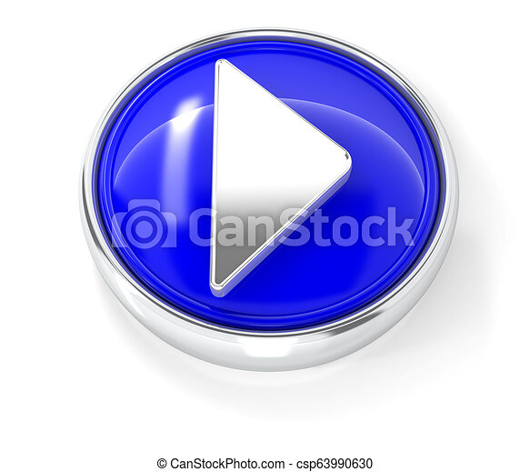 Play icon on glossy blue round button - csp63990630