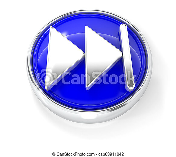 Play icon on glossy blue round button - csp63911042