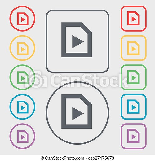 play icon sign. symbol on the Round and square buttons with frame. Vector - csp27475673