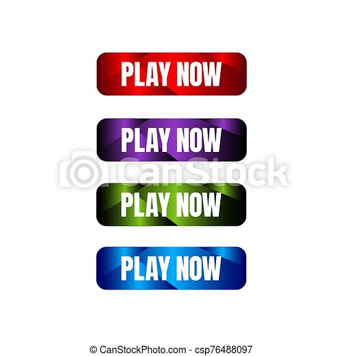 play now button four colored editable call to action buttons vector illustrations - csp76488097