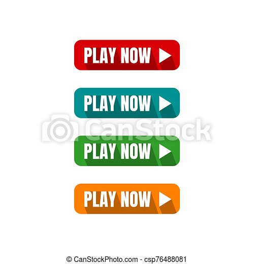 play now button four colored editable call to action buttons vector illustrations - csp76488081