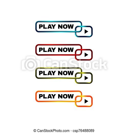 play now button four colored editable call to action buttons vector illustrations - csp76488089