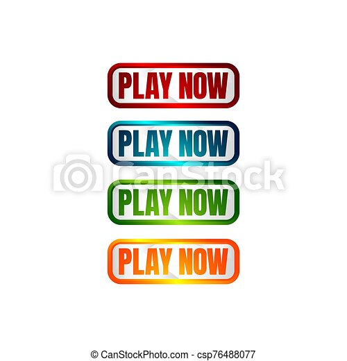 play now button four colored editable call to action buttons vector illustrations - csp76488077